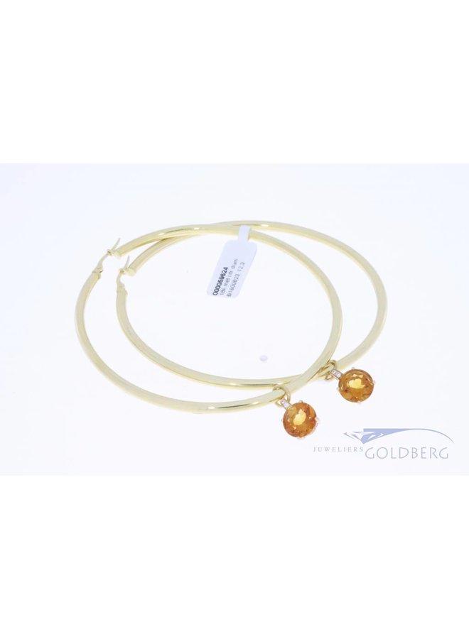 Extra grote 18k gouden ovalen creolen met gebrande amethist en briljant hanger