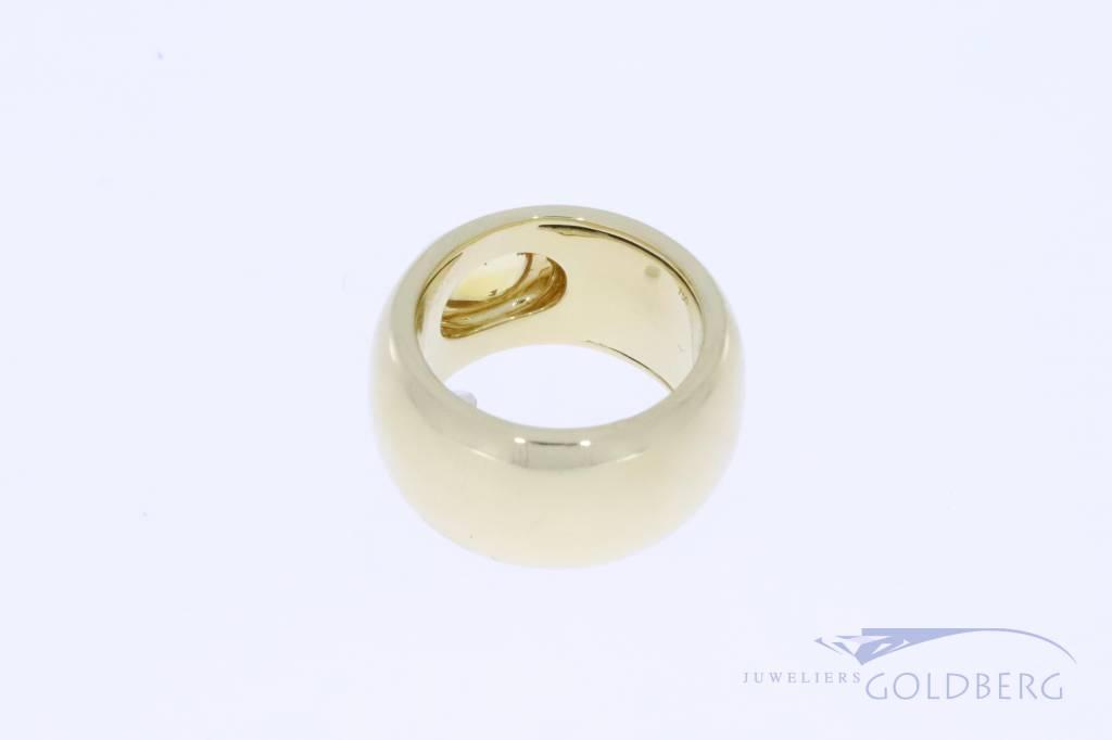 Zeer brede 18k gouden vintage ring met citrien