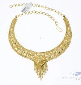 Prachtig vintage 21k gouden Indiaas collier (kleine maat)