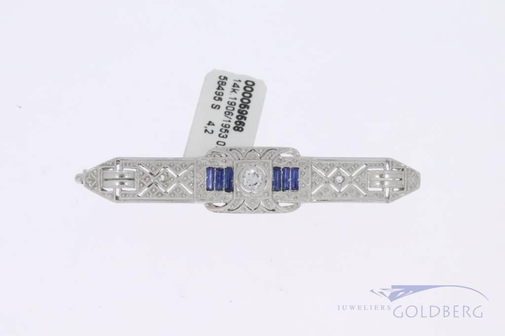 14k witgouden Art deco broche met diamant