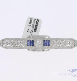 14k white gold Art deco brooch with diamond