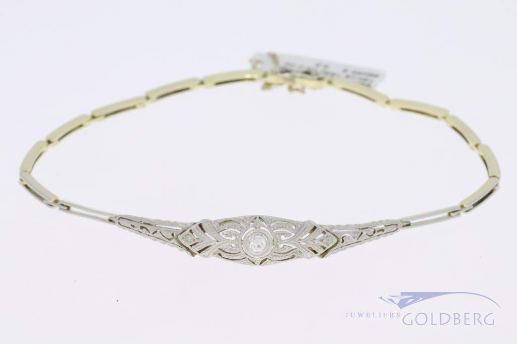14k gouden bicolor Art deco armband met 0.06ct diamant