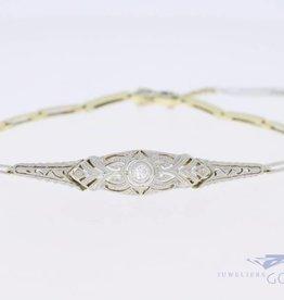 14k gouden bicolor Art deco armband met diamant