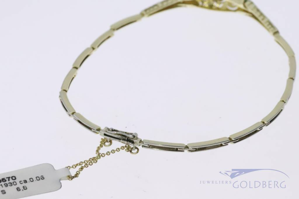 14k gold bicolor Art deco bracelet with diamond
