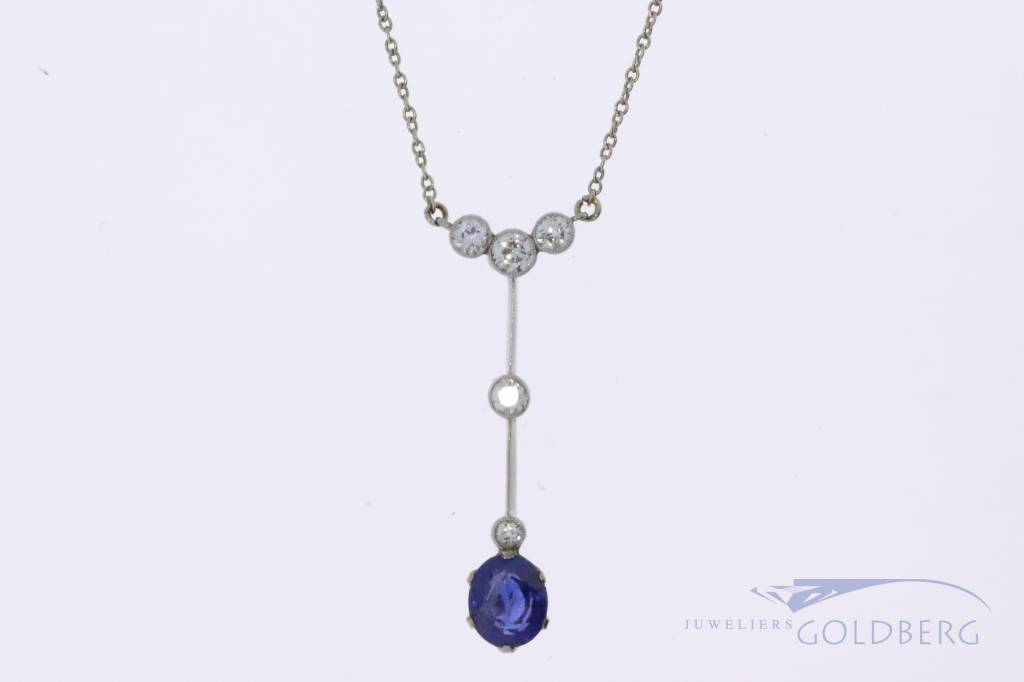 14k white gold Art Deco necklace from around the 1930's  with sapphire and diamond