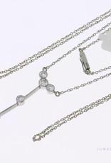 14k witgouden Art deco collier uit ca. jaren '30 met saffier en diamant