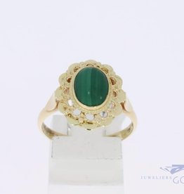 14k gold flower shaped ring with malachite