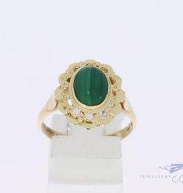 14k gouden bloemvormige ring met malachiet