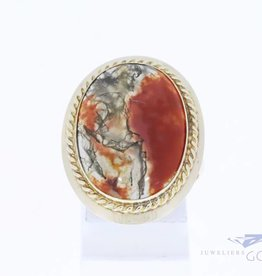 Large 14k gold ring with moss agate
