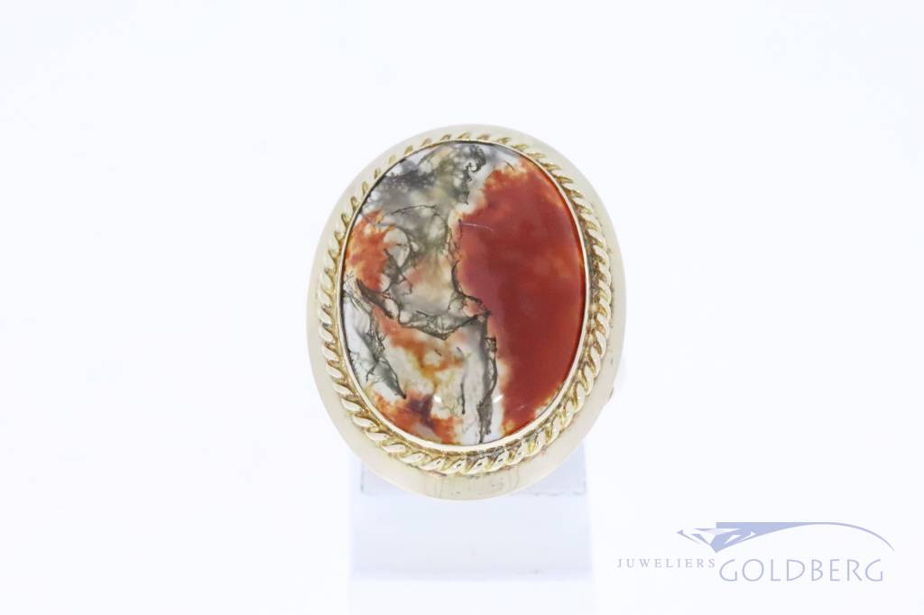 Large 14k gold vintage ring with moss agate