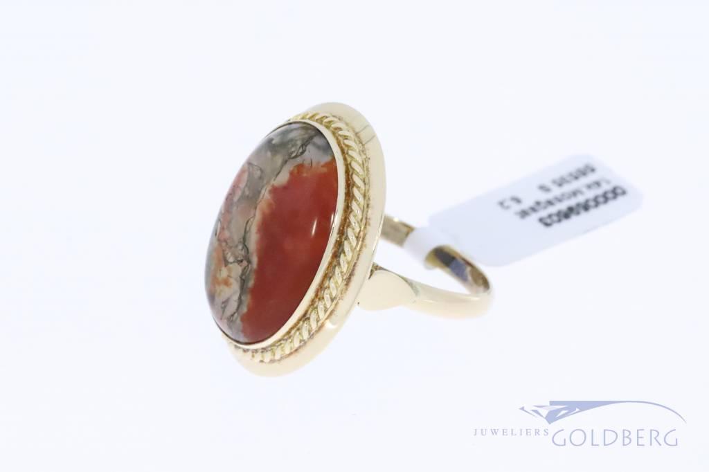 Grote 14k gouden vintage ring met mosagaat