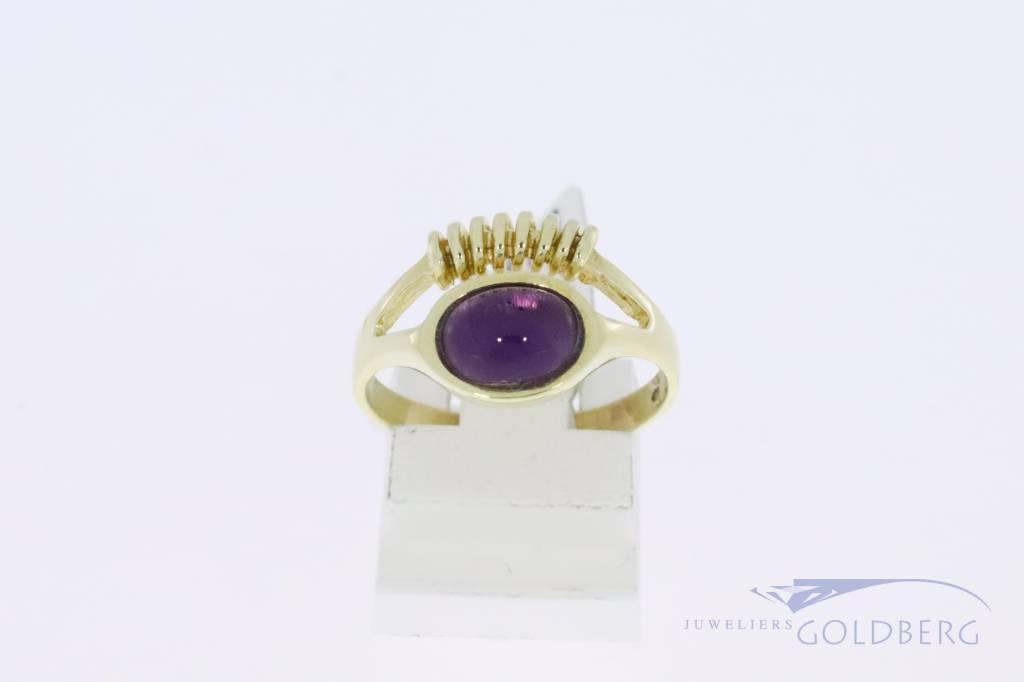 14k gouden vintage fantasie ring met amethist