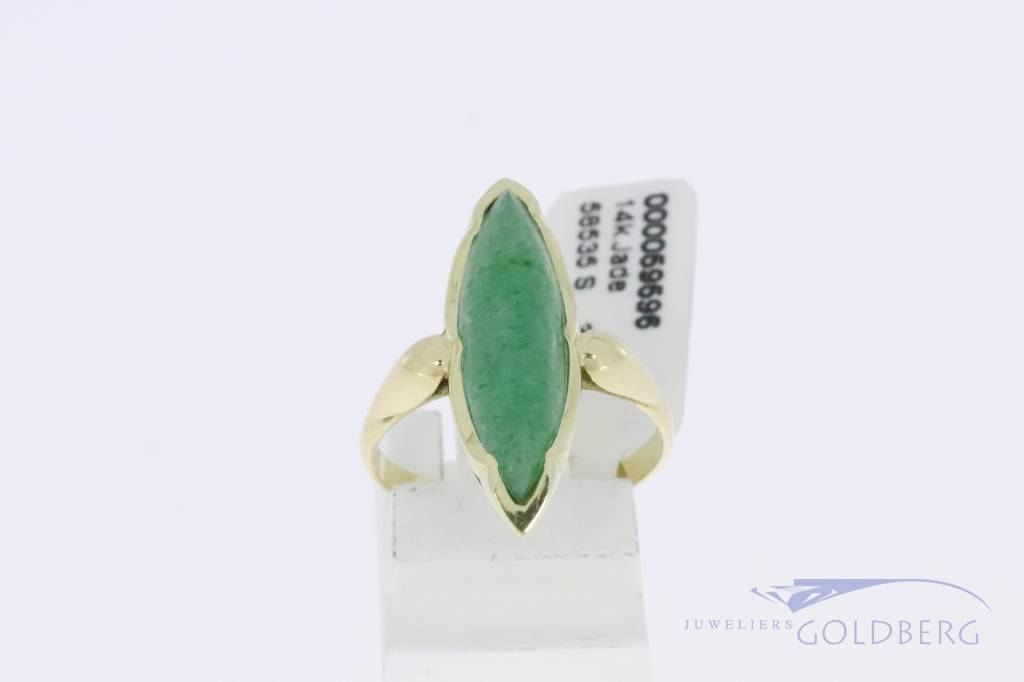 14k gold marquise shaped vintage ring with jade