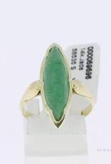 14k gouden markies vormige vintage ring met jade