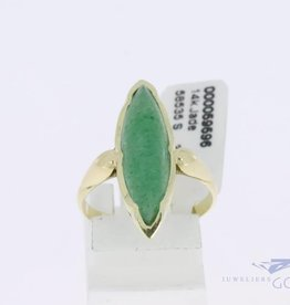 14k gold marquise shaped ring with jade