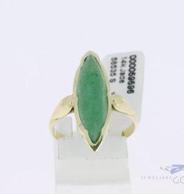 14k gouden markies vormige ring met jade