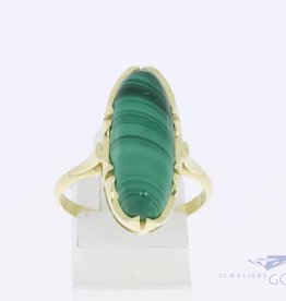 14k gold vintage ring with malachite