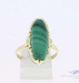 14k gouden vintage ring met malachiet