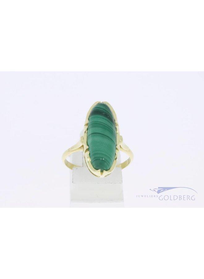 14k gouden ovalen vintage ring met malachiet