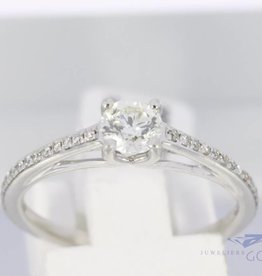 18k white gold engagement ring with  0.48ct in diamonds