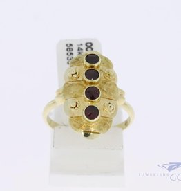 14k gold vintage ring with 4 garnets