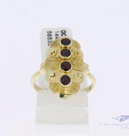 14k gouden vintage ring met 4 granaatjes
