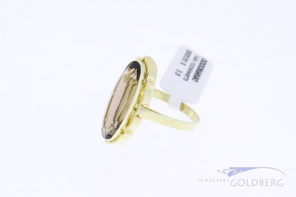 14k gouden vintage ring met rookkwarts