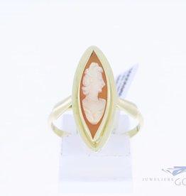 14k gouden ring met markies vormige camee