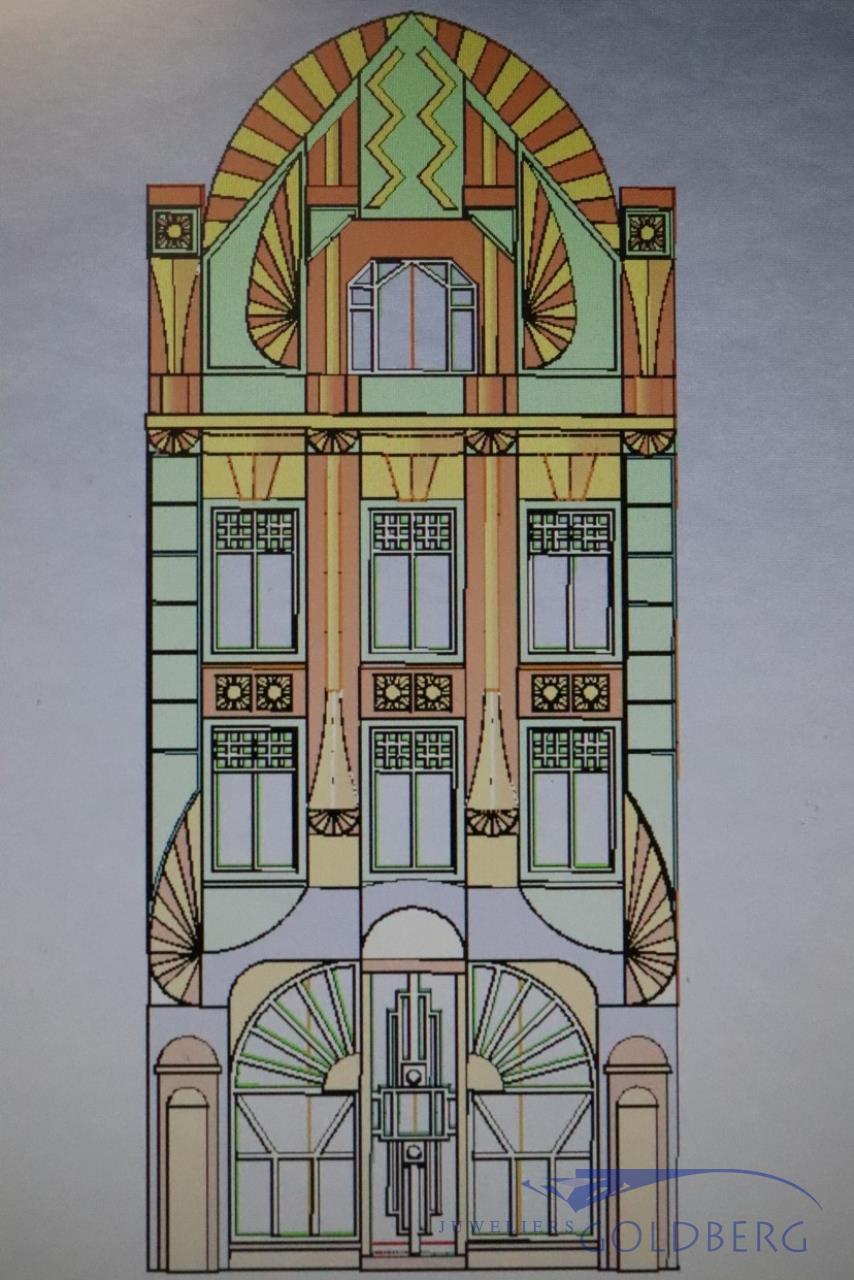 Vroeg Art Deco gebouw miniatuur Goldberg Juweliers