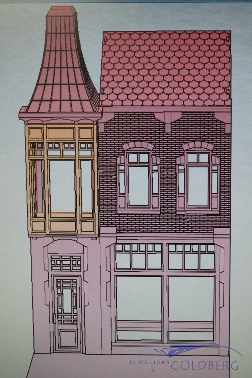 Laat Art Nouveau huis miniatuur Goldberg Juweliers