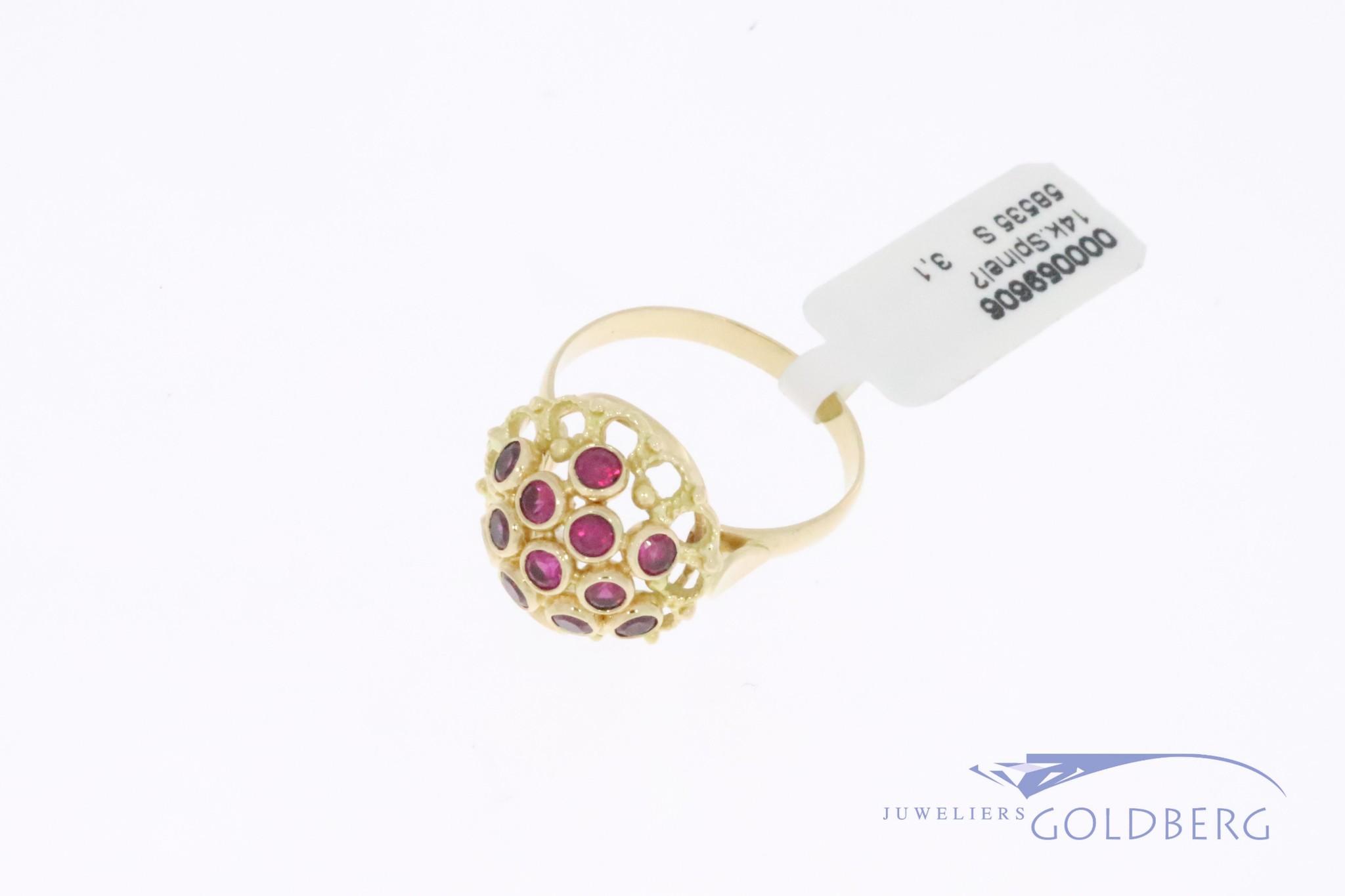 14k gouden vintage fantasie rozet ring met synthetische robijntjes