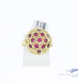 14k gold fantasy rosette ring with synthetic rubies
