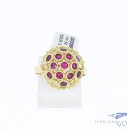 14k gouden fantasie rozet ring met synthetische robijntjes