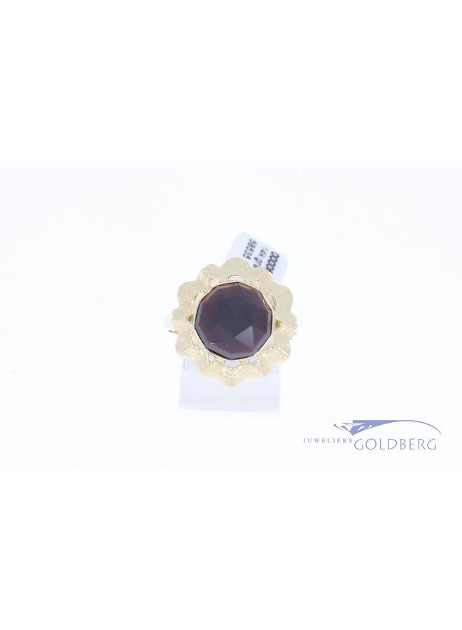 14k gold large round vintage ring with garnet