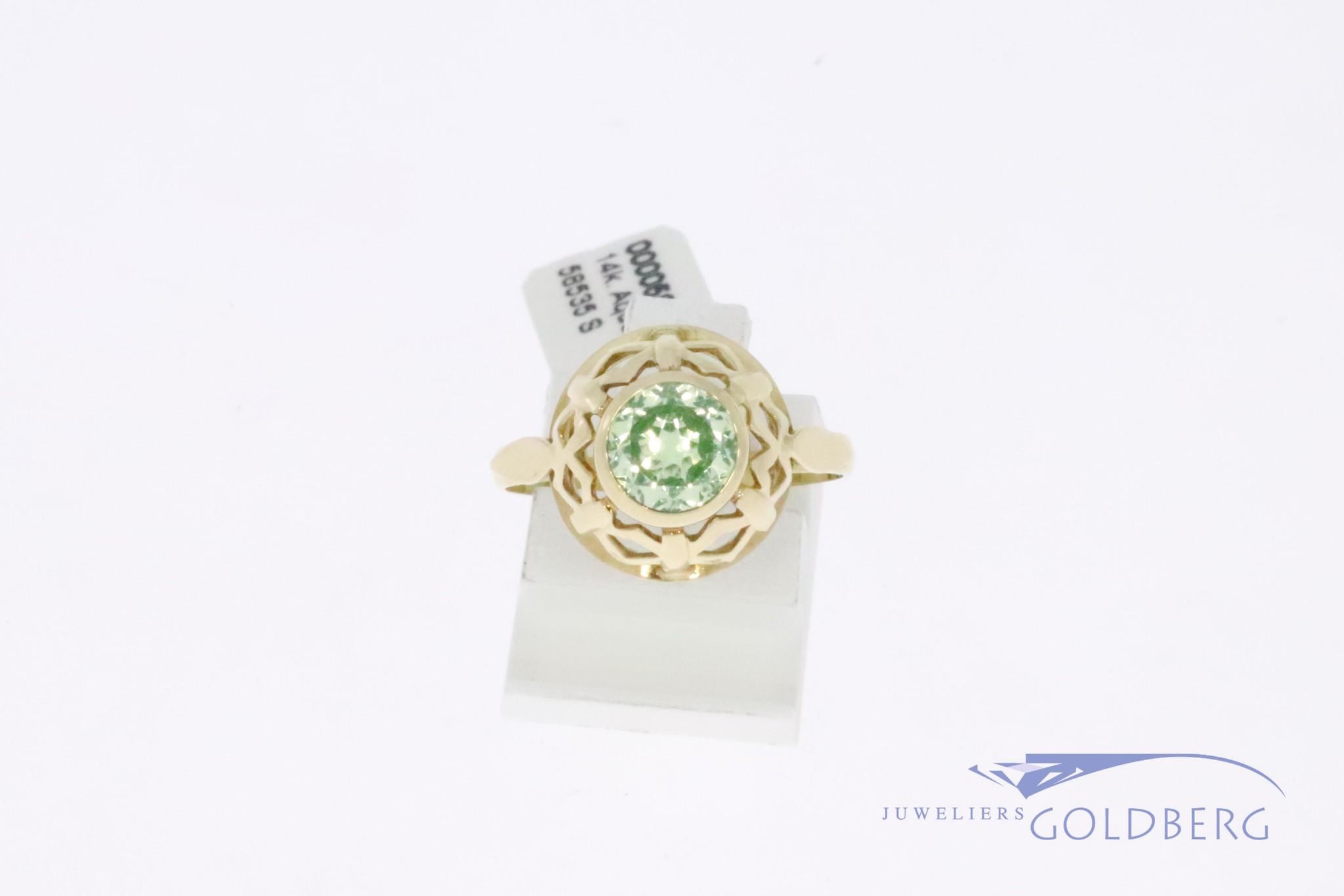14k gouden vintage ring met ronde citrien