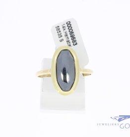 14k gouden vintage ring met hematiet