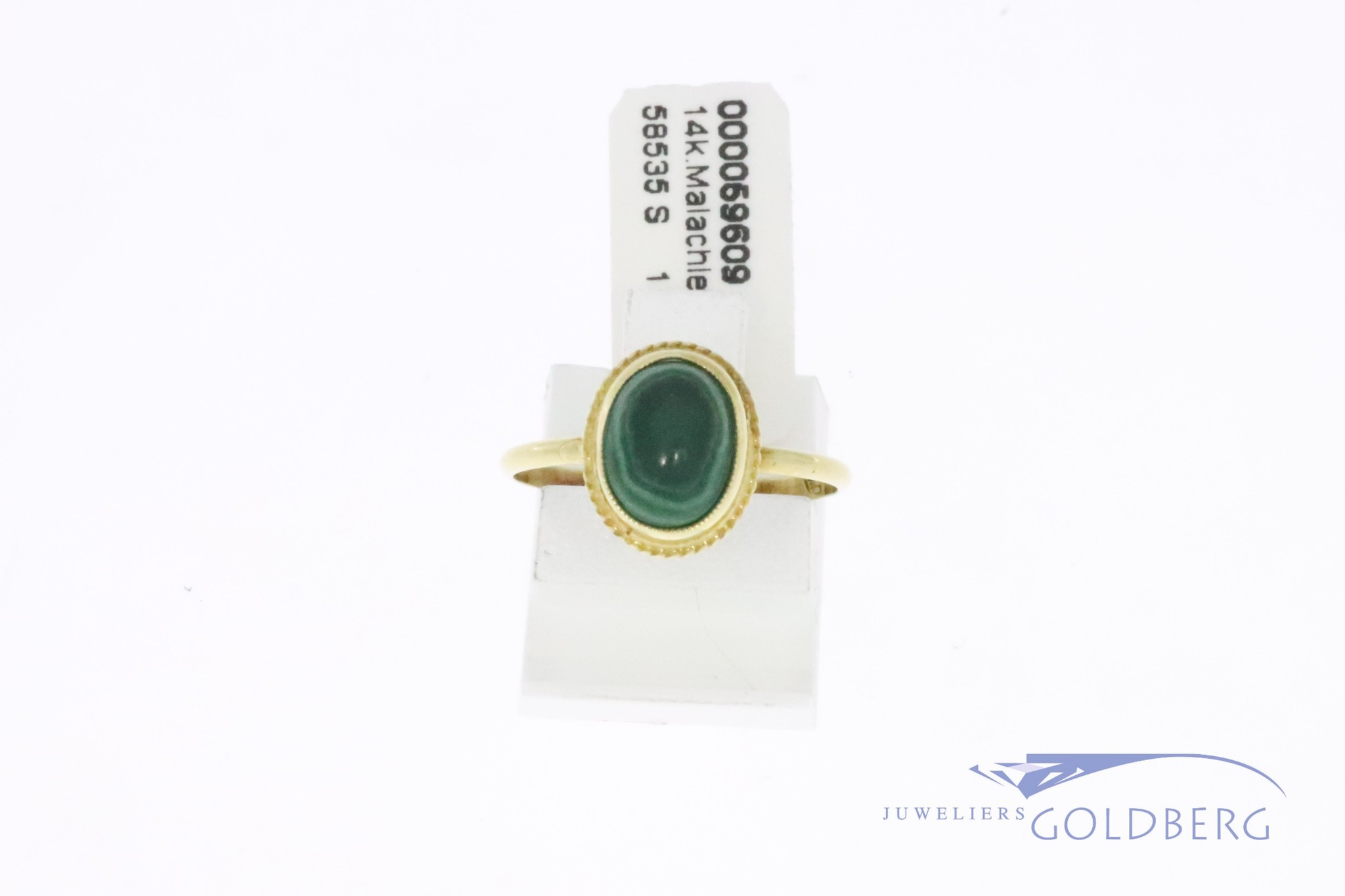 14k gold small vintage ring with malachite