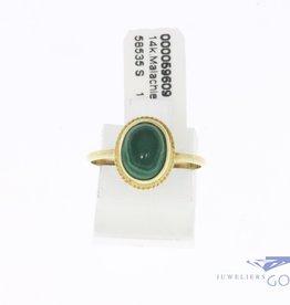 14k gouden kleine vintage ring met malachiet