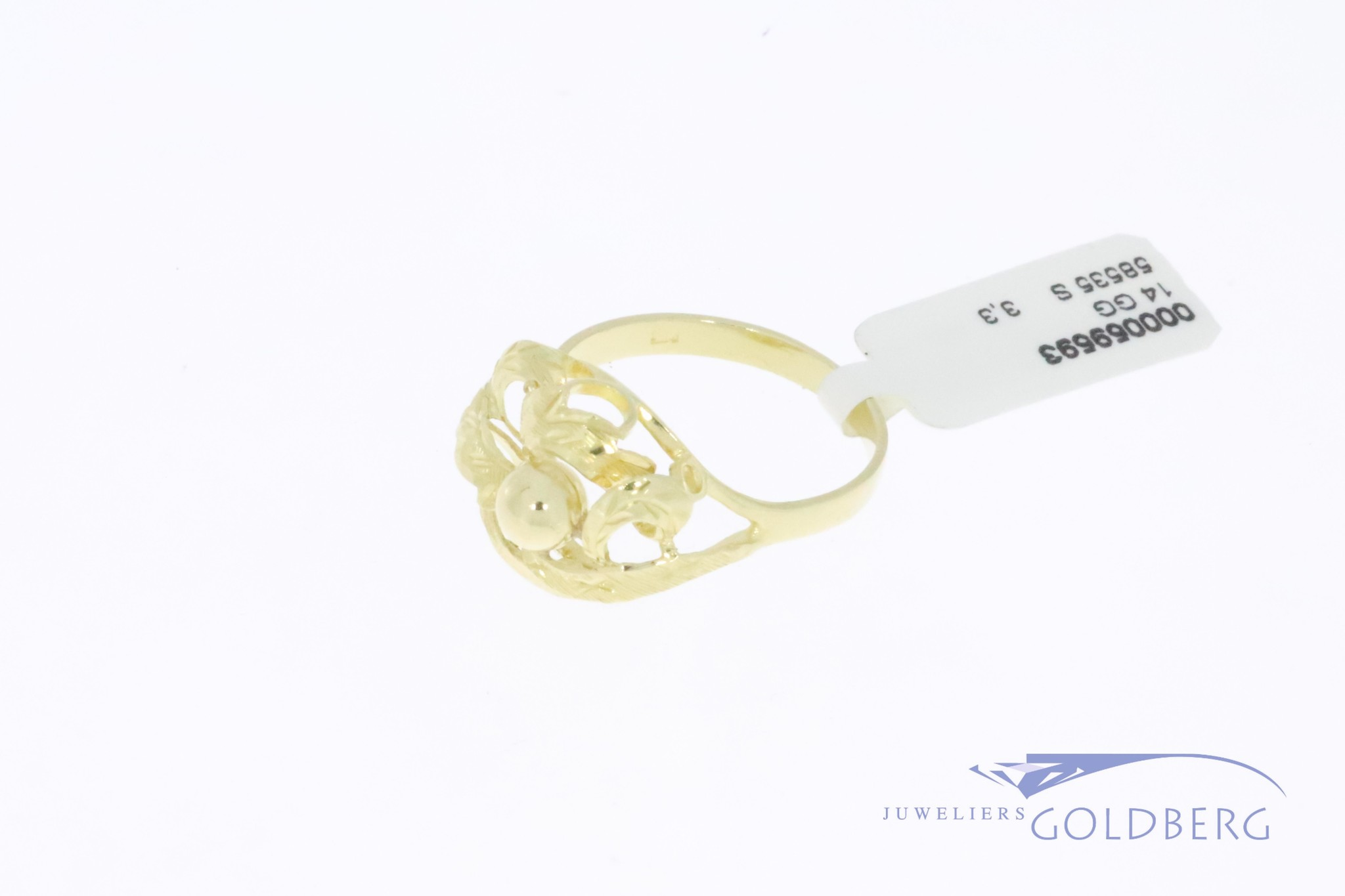 14k gold organically shaped vintage design ring