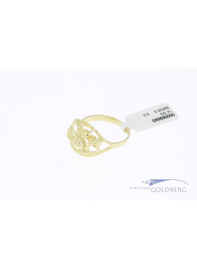 14k gold organically shaped vintage design ring