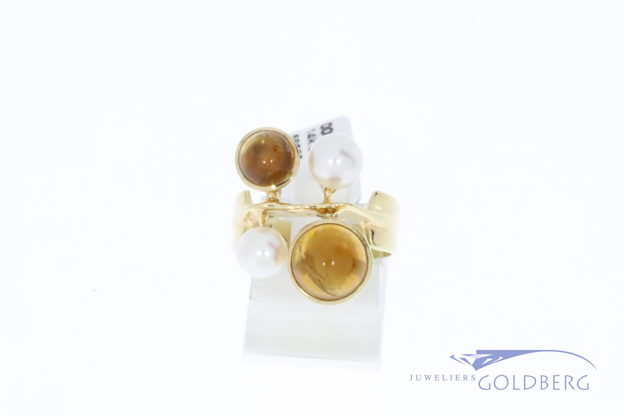 14k gouden vintage ring met barnsteen en parel