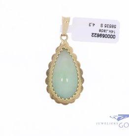 14k gouden vintage druppelhanger met jade