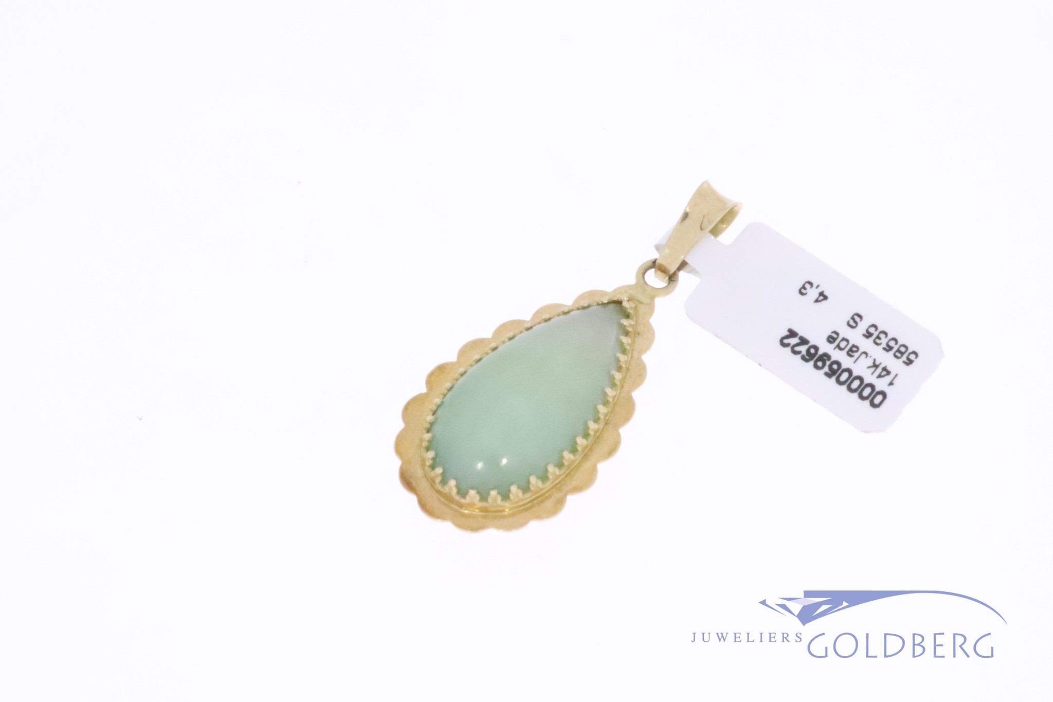 14k gold vintage drop shaped pendant with jade