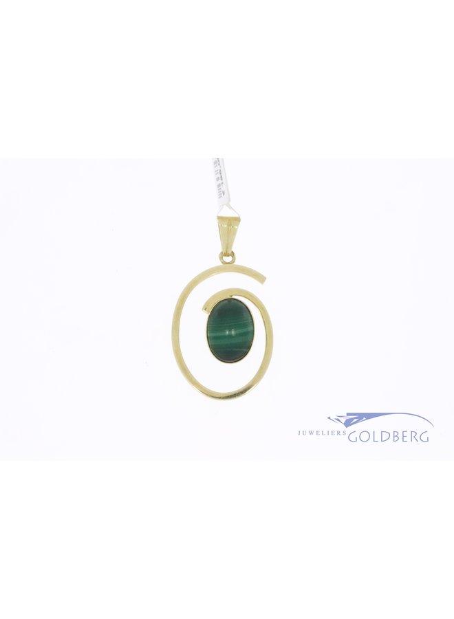 14k gold vintage pendant with malachite