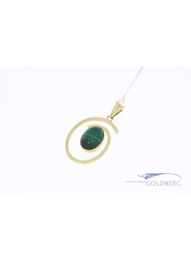 14k gold vintage spiral shaped pendant with malachite