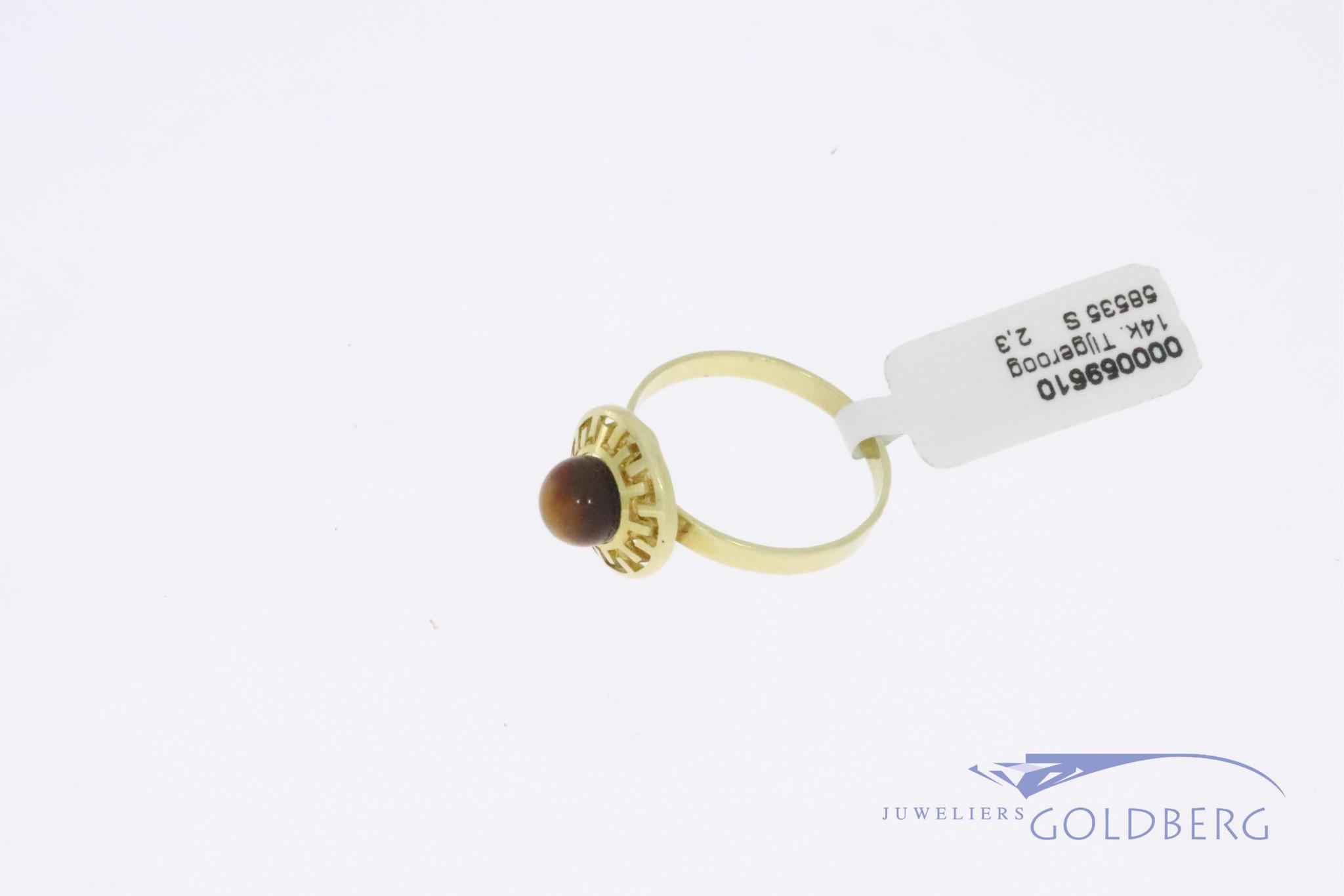 Fijne 14k gouden vintage ring met tijgeroog