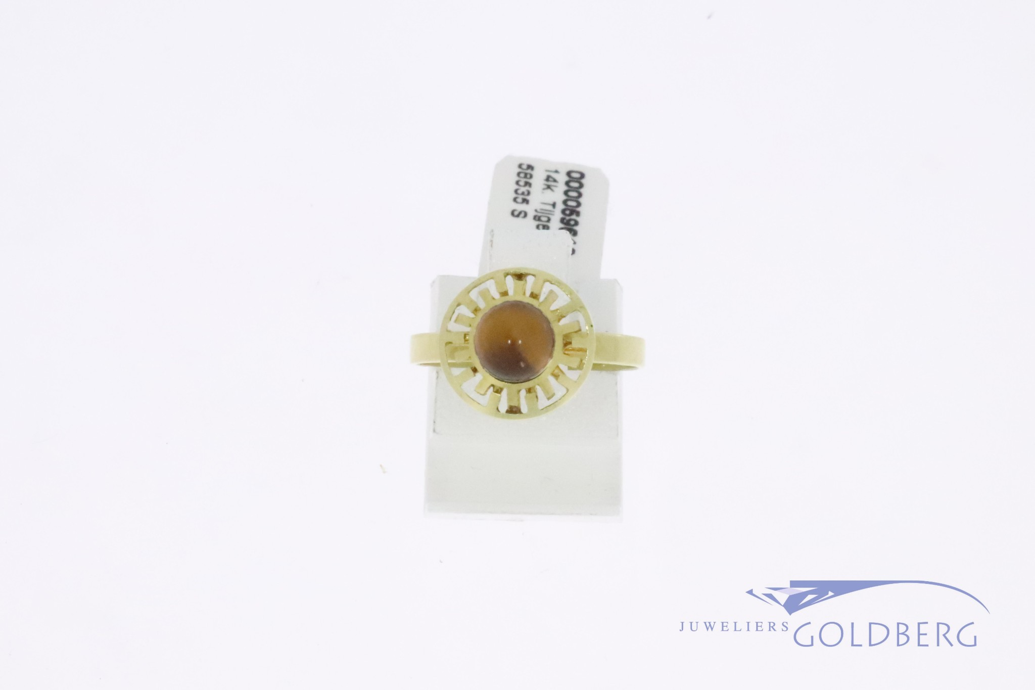 Cute 14k gold ring with tiger's eye gemstone