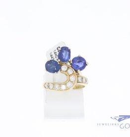 14k gouden vintage ring met briljant en saffier