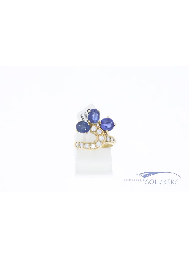 14k gold vintage ring with diamonds and sapphires