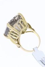 """Uitzonderlijk grote 18k gouden vintage """"statement"""" ring met rookkwarts"""